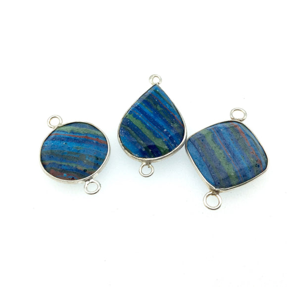 Jeweler's Lot OOAK Silver Plated Faux Fordite Faceted Assorted Copper Bezel Pendants/Connectors 18mm - 22mm, Approx.