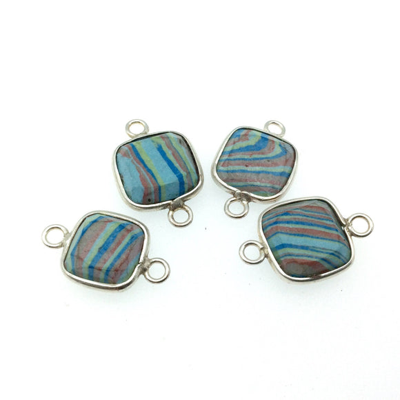 Jeweler's Lot OOAK Silver Plated Faux Fordite Faceted Assorted Copper Bezel Pendants/Connectors 12mm - 14mm, Approx.