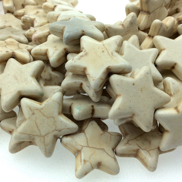 25mm Smooth Brown Veined Ivory Howlite Star Shaped Beads with 1mm Holes - Sold by 14.5