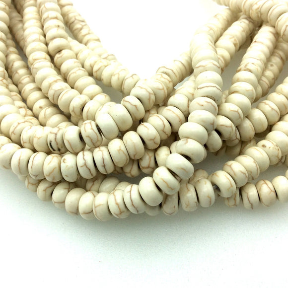 4mm x 8mm Smooth White/Ivory/Brown Howlite Rondelle Shaped Beads - Sold by 15