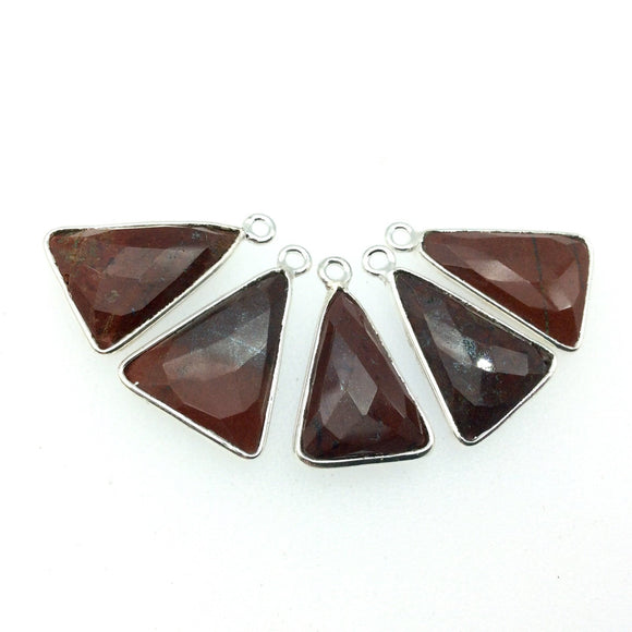 Silver Finish Faceted Red Jasper Triangle Shaped Bezel Pendant Component - Measuring 12mm x 16mm - Natural Semi-precious Gemstone