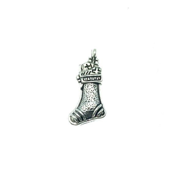 Silver Plated Christmas Stocking Pendant with One Ring- Measuring 11mm x 18mm - Sold Individually, Chosen at Random
