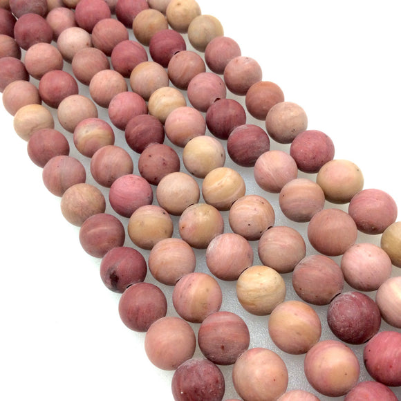 10mm Natural Pink Rhodonite Matte Finish Round/Ball Shaped Beads with 2.5mm Holes - 7.75