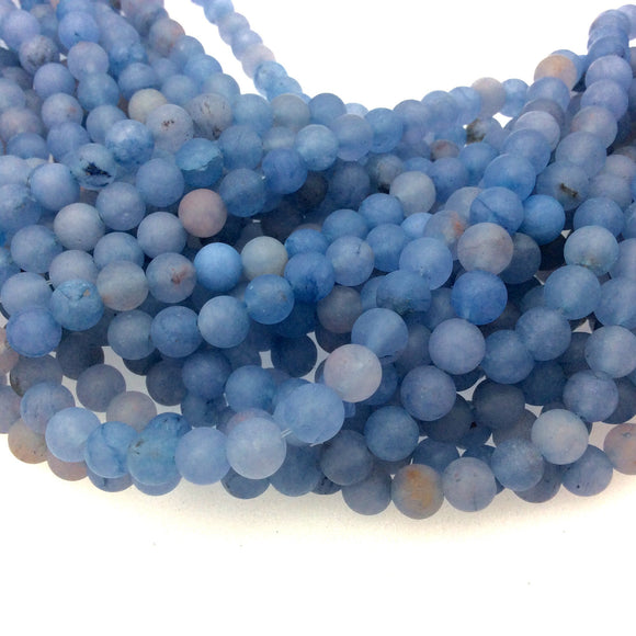 Matte Smooth Gray/Blue Dyed Agate Round Shaped Beads with 1mm Holes - 6mm, 8mm Available