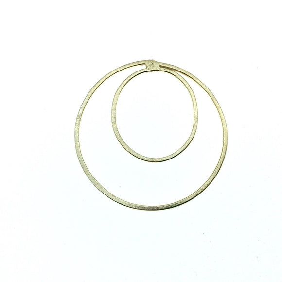 48mm x 48mm Soft Gold Finish Open Circle with Inner Oval Shaped Plated Copper Components - Sold in Packs of 4 Pieces