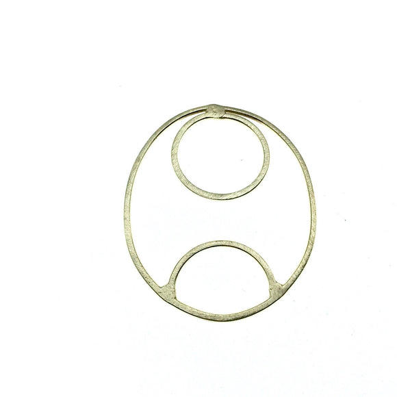 42mm x 50mm Soft Gold Finish Open Oval with Inner Circle and Half Circle Shaped Plated Copper Components - Sold in Packs of 4 Pieces