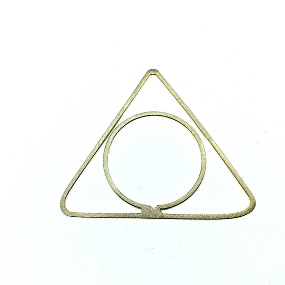51mm x 53mm Soft Gold Finish Open Triangle with Inner Circle Shaped Plated Copper Components - Sold in Packs of 4 Pieces