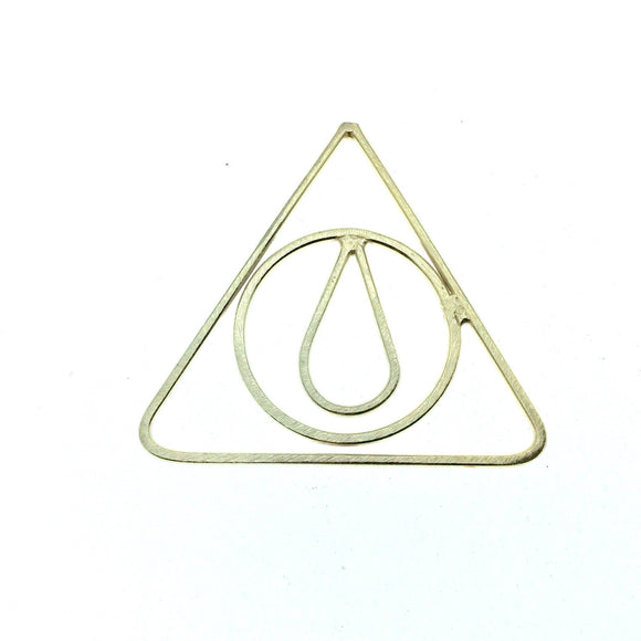 51mm x 51mm Soft Gold Finish Open Triangle with Inner Circle and Teardrop Shaped Plated Copper Components - Sold in Packs of 4 Pieces
