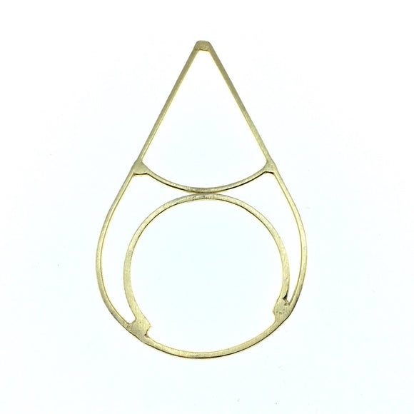 42mm x 80mm Soft Gold Finish Open Teardrop with Inner Circle and Teardrop Shaped Plated Copper Components - Sold in Packs of 4 Pieces