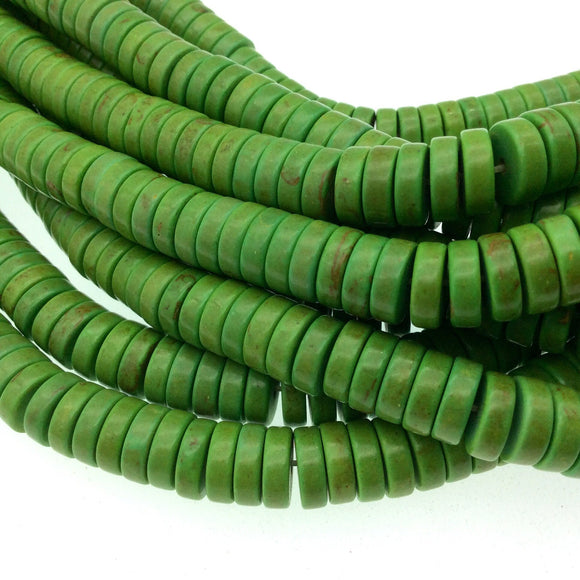 3mm x 10mm Smooth Lime Green Howlite Heishi/Disc Shaped Beads - 15.75