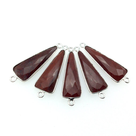 Silver Finish Faceted Red Jasper Long Triangle Shaped Bezel Connector Component - Measuring 10mm x 25mm - Natural Semi-precious Gemstone