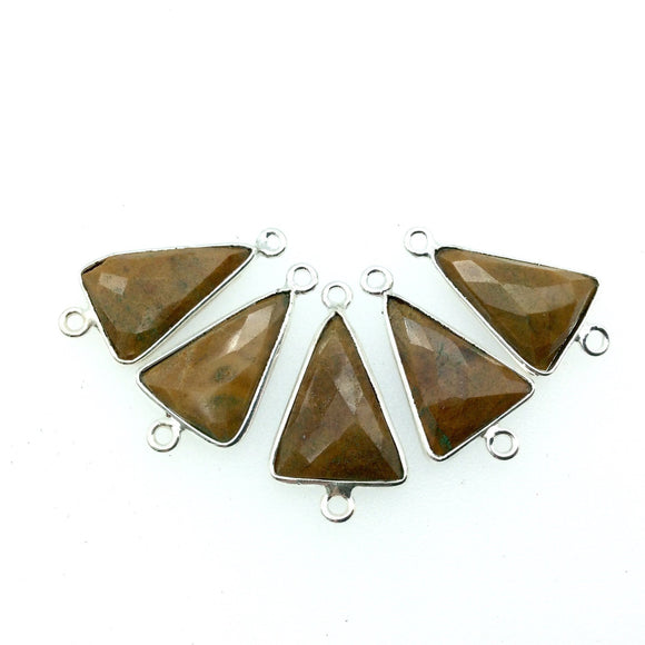 Silver Finish Faceted Yellow Jasper Triangle Shaped Bezel Connector - Measuring 12mm x 16mm - Natural Semi-precious Gemstone