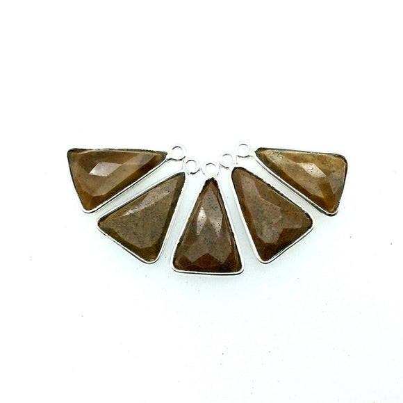 Silver Finish Faceted Yellow Jasper Triangle Shaped Bezel Pendant - Measuring 12mm x 16mm - Natural Semi-precious Gemstone