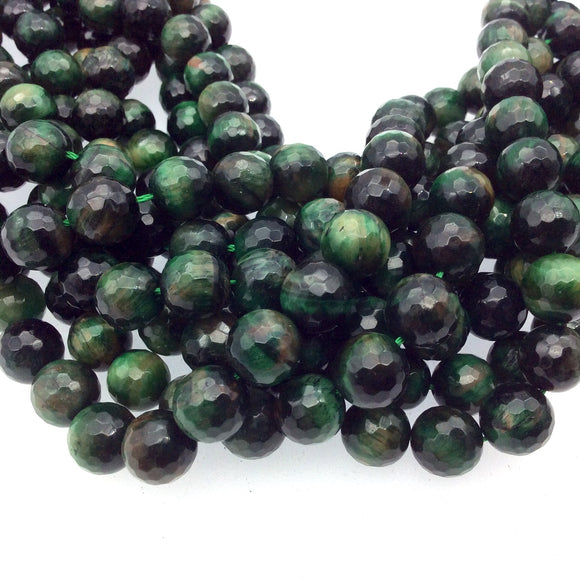 10mm Faceted Dyed Green Tiger's Eye Round/Ball Shaped Beads with 1mm Holes - Sold by 15
