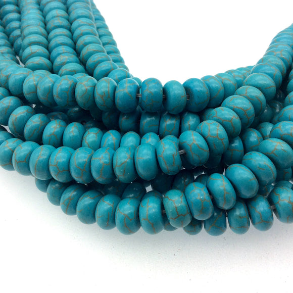6mm x 10mm Mixed Dyed Blue Howlite Smooth Finish Rondelle Shaped Beads with 1mm Holes - 14.5