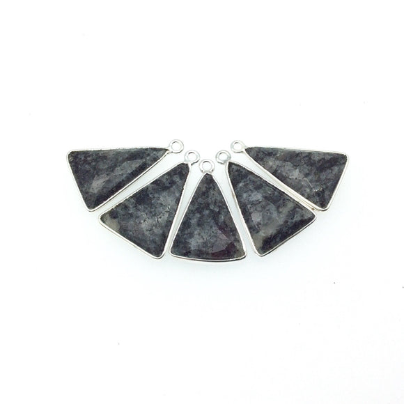 Silver Finish Faceted Black Feldspar Triangle Shaped Bezel Pendant Component - Measuring 15mm x 20mm - Natural Semi-precious Gemstone