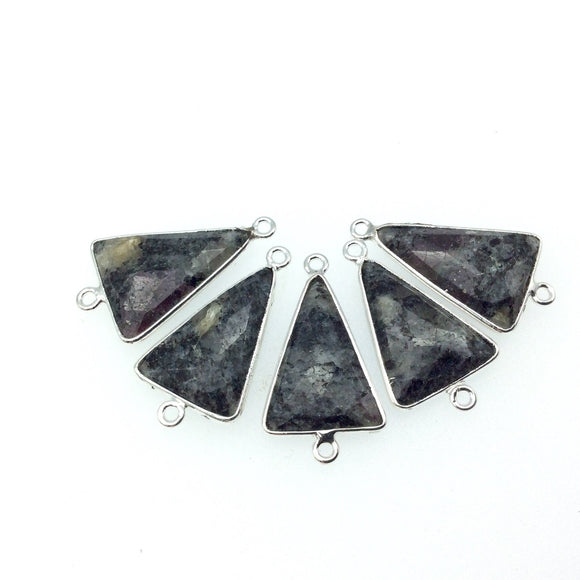 Silver Finish Faceted Black Feldspar Triangle Shaped Bezel Connector Component - Measuring 15mm x 20mm - Natural Semi-precious Gemstone