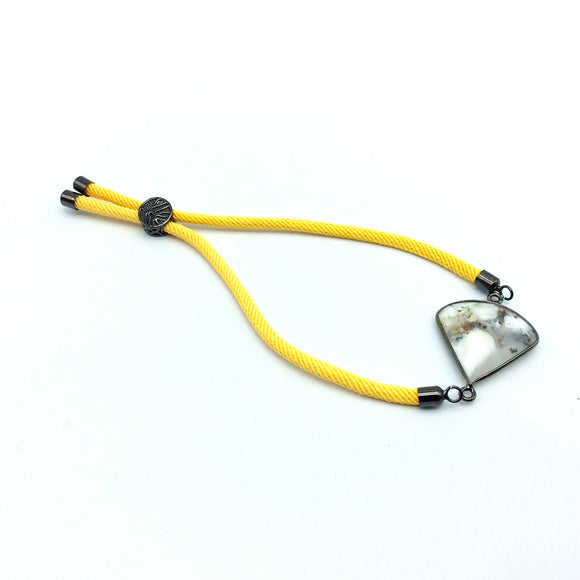 Yellow Half Finished Cord Bracelet with Gunmetal Plated Tree of Life Sliding Stopper Bead - 115mm Single Cord Length, 8mm Stopper Bead