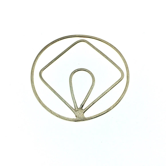 48mm Soft Gold Open Circle with Inner Diamond and Teardrop - Shaped Plated Copper Components - Sold in Packs of 4 Pieces