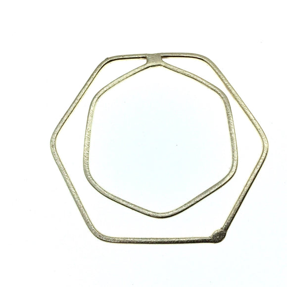 45mm x 50mm Soft Gold Open Hexagon with Inner Hexagon Shaped Plated Copper Components - Sold in Packs of 4 Pieces