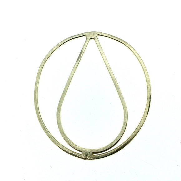 40mm x 50mm Soft Gold Open Oval with Inner Teardrop Shaped Plated Copper Components - Sold in Packs of 4 Pieces