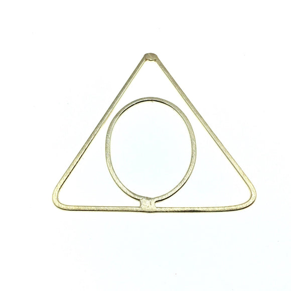 50mm x 53mm Soft Gold Open Triangle with Inner Oval Shaped Plated Copper Components - Sold in Packs of 4 Pieces