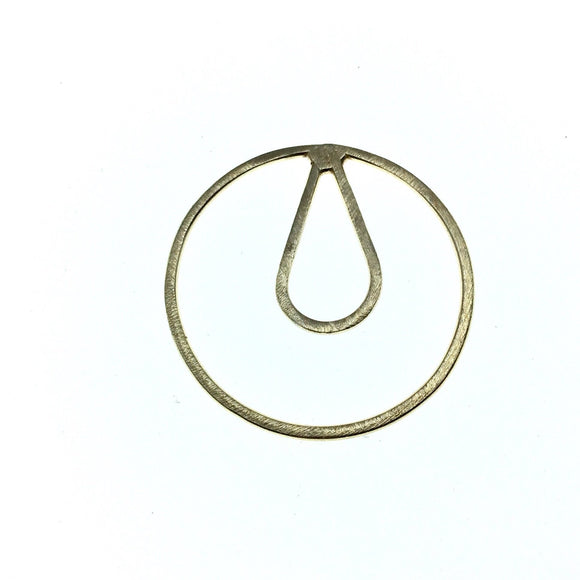36mm x 36mm Soft Gold Open Circle with Inner Teardrop Shaped Plated Copper Components - Sold in Packs of 4 Pieces