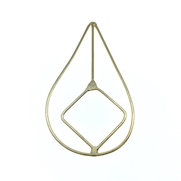 41mm x 81mm Soft Gold Open Teardrop with Inner Diamond Shaped Plated Copper Components - Sold in Packs of 4 Pieces