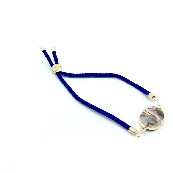 Cobalt Blue Half Finished Cord Bracelet with Gold Plated Tree of Life Sliding Stopper Bead - 115mm Single Cord Length, 8mm Stopper Bead