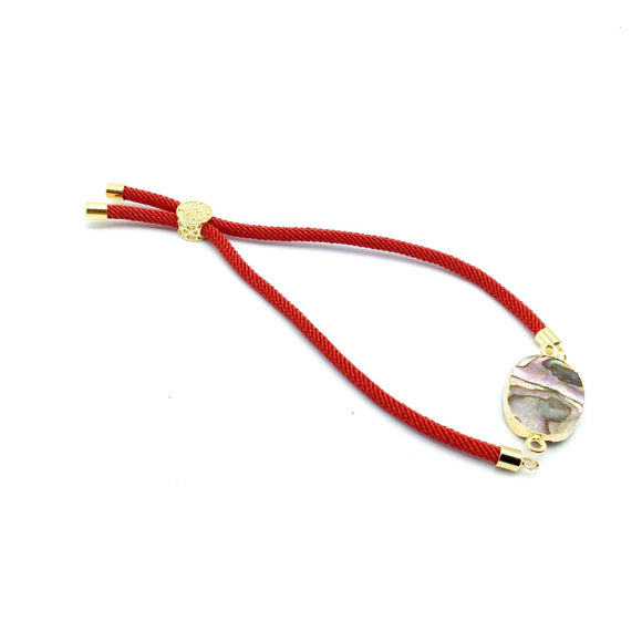 Cadmium Red Half Finished Cord Bracelet with Gold Plated Tree of Life Sliding Stopper Bead - 115mm Single Cord Length, 8mm Stopper Bead