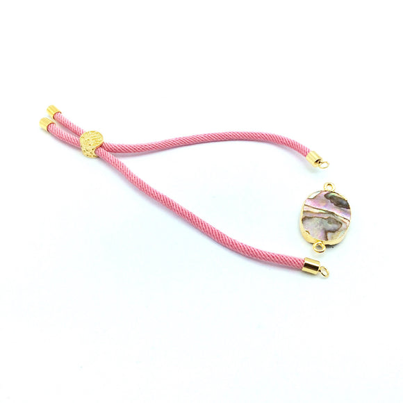 Pink Half Finished Cord Bracelet with Gold Plated Tree of Life Sliding Stopper Bead - 115mm Single Cord Length, 8mm Stopper Bead