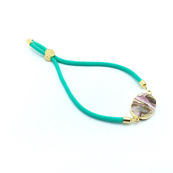 Seafoam Green Half Finished Cord Bracelet with Gold Plated Tree of Life Sliding Stopper Bead -115mm Single Cord Length, 8mm Stopper Bead