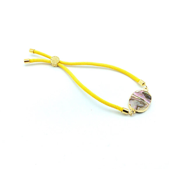 Yellow Half Finished Cord Bracelet with Gold Plated Tree of Life Sliding Stopper Bead - 115mm Single Cord Length, 8mm Stopper Bead