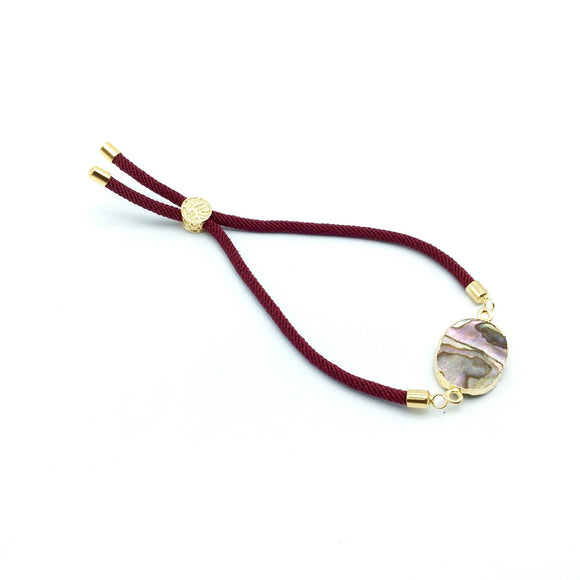 Maroon Half Finished Cord Bracelet with Gold Plated Tree of Life Sliding Stopper Bead - 115mm Single Cord Length, 8mm Stopper Bead
