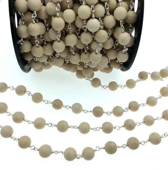 Silver Plated Copper Wrapped Rosary Chain with 8mm Matte Natural Cream River Stone Round Shaped Beads - Sold by the foot! (CH414-SV)