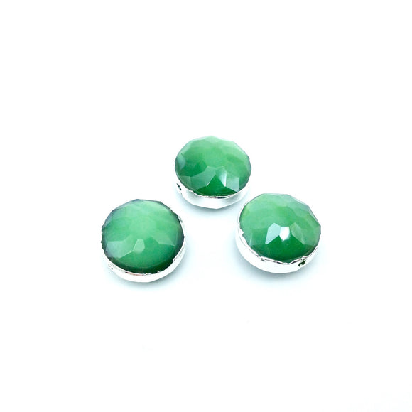 Silver Electroplated Faceted Opaque Green Crystal Round/Coin Shaped Bead  - 14mm - Sold Individually, At Random - High Quality Crystal