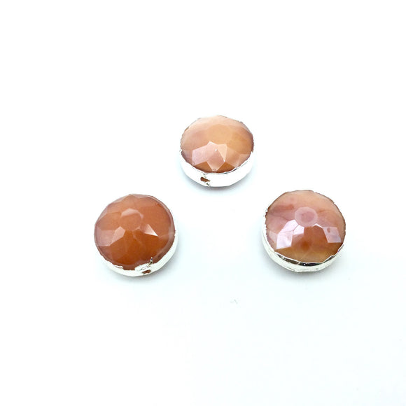 Silver Electroplated Faceted Opaque Burnt Orange Crystal Round/Coin Shaped Bead - 14mm - Sold Individually, At Random - High Quality Crystal