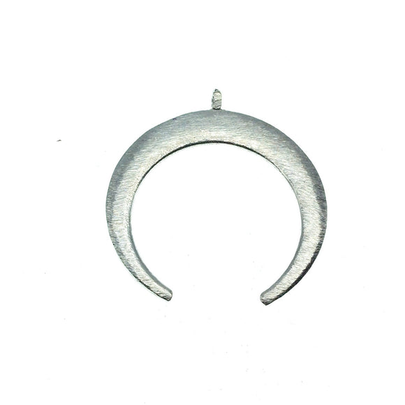 39mm x 42mm, 1.5mm Thick Silver Plated Copper Thick Crescent Shaped Pendant Components (One Ring) - Sold Individually