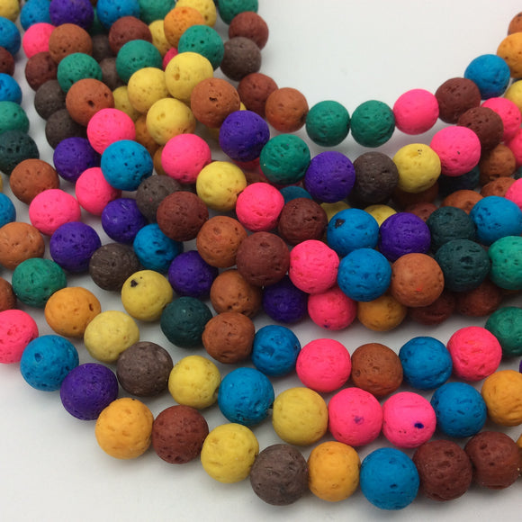 6mm Mixed Neon Colored Volcanic Lava Rock Round/Rondelle Shaped Diffuser Beads w/ 1.5mm Holes - Sold by 15