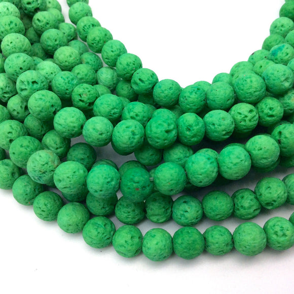 6mm Neon Green Colored Volcanic Lava Rock Round/Rondelle Shaped Diffuser Beads w/ 1.5mm Holes - Sold by 15