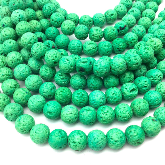 8mm Neon Green Colored Volcanic Lava Rock Round/Rondelle Shaped Diffuser Beads w/ 1.5mm Holes - Sold by 15