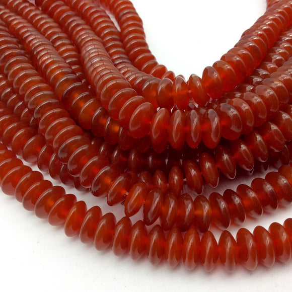 14mm Smooth Red Agate Saucer/Disc Shaped Beads with 1mm Holes - Sold by 14