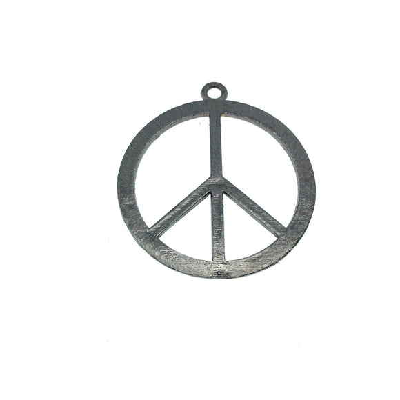 Gunmetal Plated Hippie Peace Sign Cutout Circle Shaped Brushed Finish Copper Components - Measuring 32mm x 32mm - Pack of 10 (441-GM)