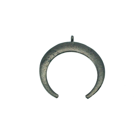 39mm x 42mm, 1.5mm Thick Gunmetal Plated Copper Thick Crescent Shaped Pendant Components (One Ring) - Sold Individually