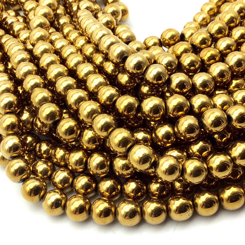 "8mm Smooth Natural Metallic Gold Coated Hematite Round/Ball Shape Beads - Sold by 16"" Strands (Approx. 52 Beads) - Semi-Precious Gemstone"