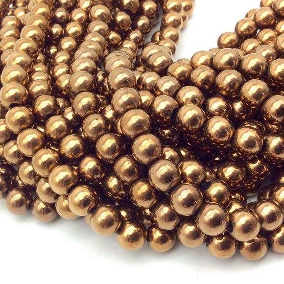 6mm Smooth Natural Metallic Bronze Coated Hematite Round/Ball Shape Beads - Sold by 15