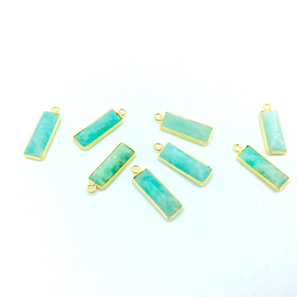 Gold Vermeil Faceted Cut Stone Rectangle Shaped Amazonite Bezel Pendant - Measuring 5mm x 15mm - Sold Per Piece