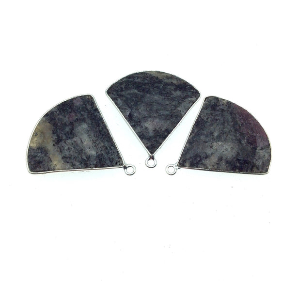 Silver Finish Faceted Black Feldspar Fan Shaped Bezel Pendant Component - Measuring 30mm x 30mm - Natural Semi-precious Gemstone