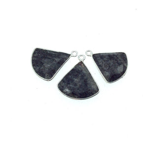 Silver Finish Faceted Black Feldspar Fan Shaped Bezel Pendant Component - Measuring 18-20mm x 18-20mm - Natural Semi-precious Gemstone