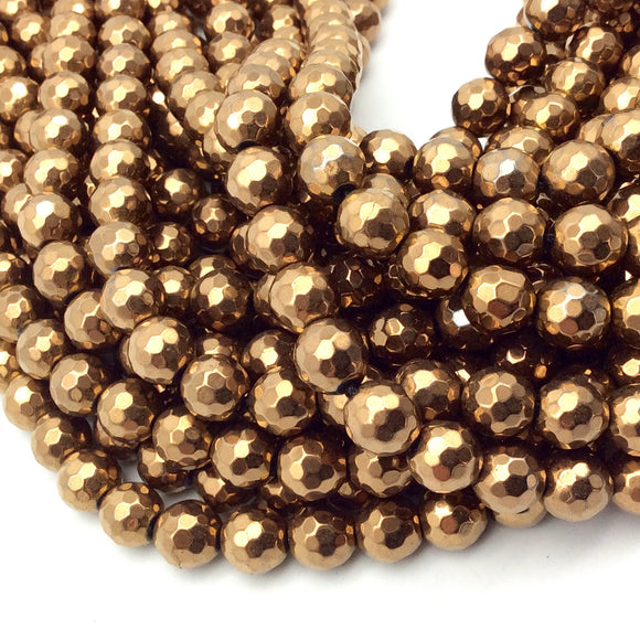 8mm Faceted Natural Metallic Bronze Coated Hematite Round/Ball Shape Beads - Sold by 15